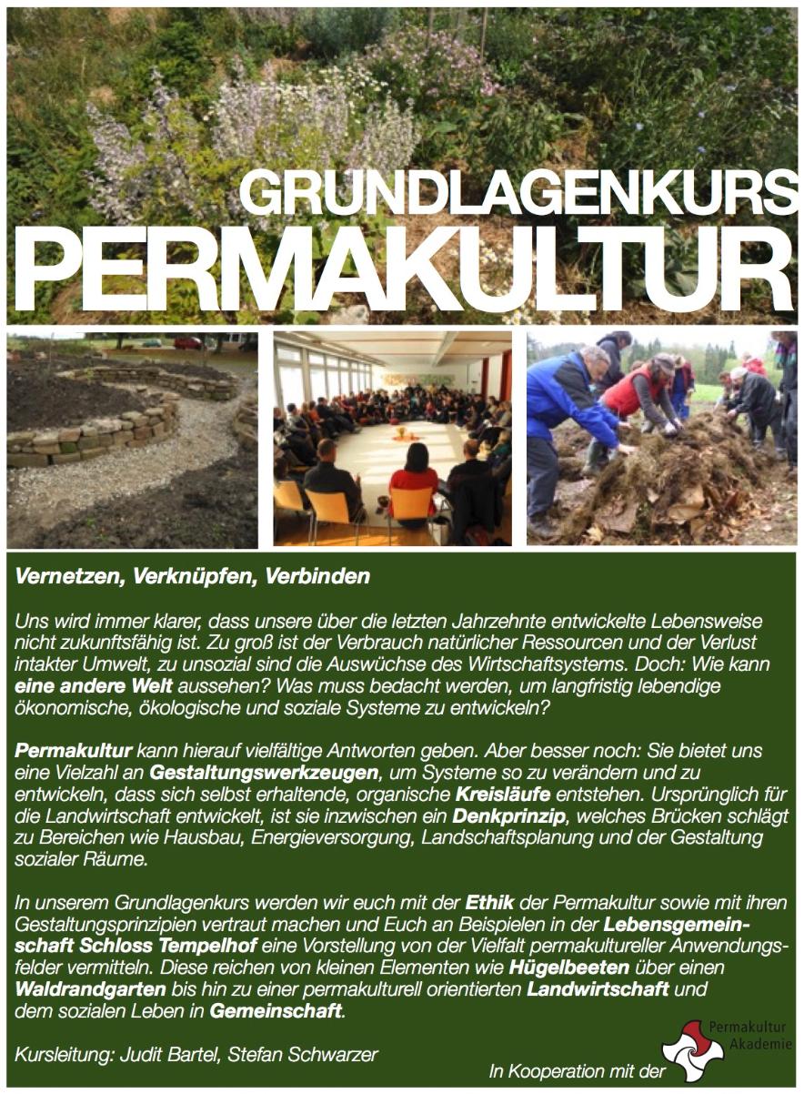 Seminar: Grundlagenkurs Permakultur »Vernetzen, Verknüpfen, Verbinden« am Schloss Tempelhof, 15.-17.11.2019