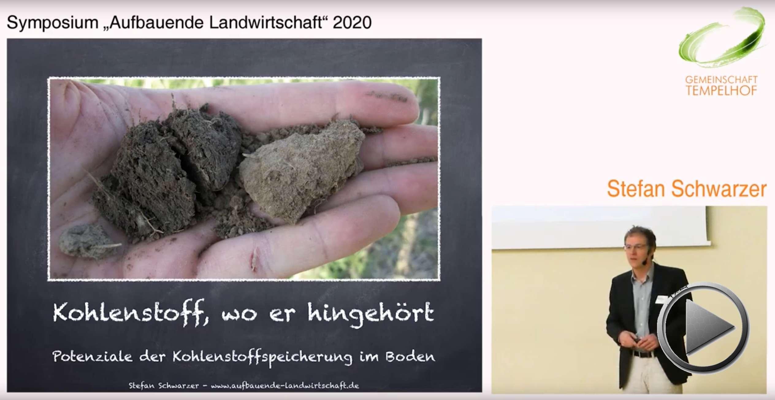 """Präsentation: Kohlenstoff, wo er hingehört. Potentiale der Kohlenstoffspeicherung im Boden. Stefan Schwarzer. Symposium """"Aufbauende Landwirtschaft"""" 2020"""