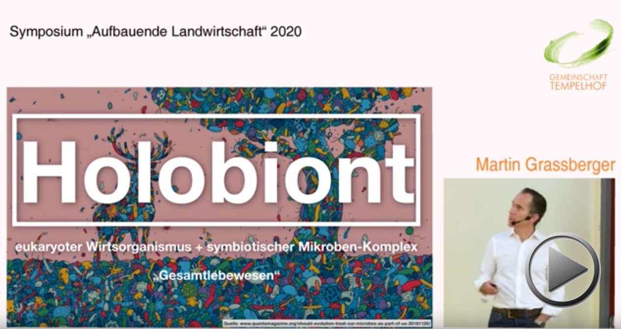 """Präsentation: Holobionten und ihr Mikrobiom. Martin Grassberger. Symposium """"Aufbauende Landwirtschaft"""" 2020"""