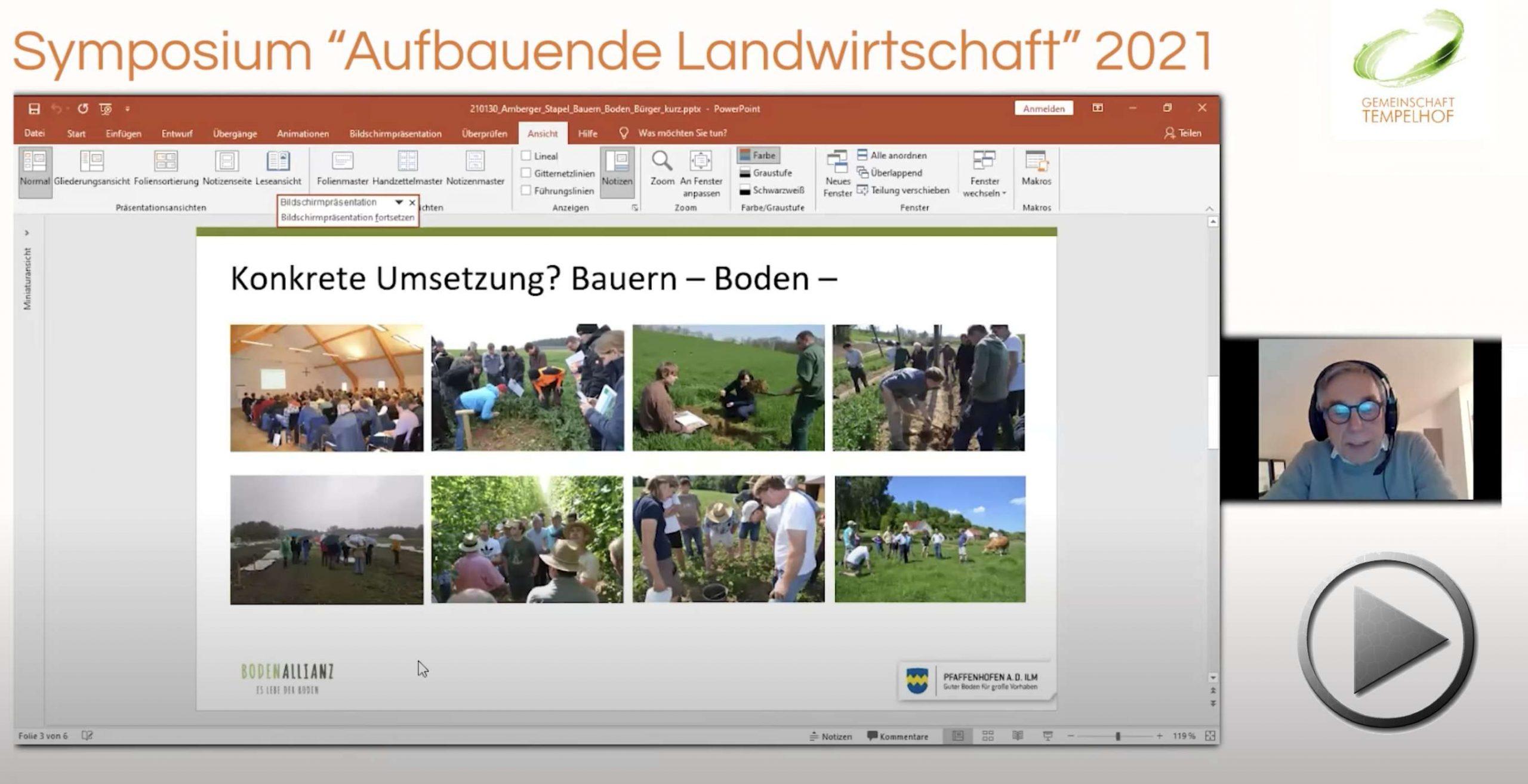 """Präsentation: Peter Stapel & Josef Amberger // Bodenallianz Pfaffenhofen // Symposium """"Aufbauende Landwirtschaft"""" 2022"""