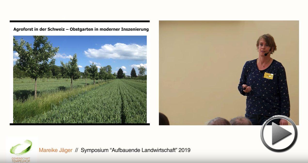 """Präsentation: Agroforstsysteme in der Schweiz. Mareike Jäger. Symposium """"Aufbauende Landwirtschaft"""" 2019"""