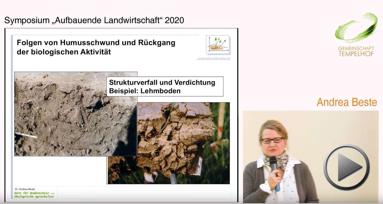 """Präsentation: Bodenbeurteilung und Grundlagen der Förderung der Bodenfruchtbarkeit. Andrea Beste. Symposium """"Aufbauende Landwirtschaft"""" 2020"""